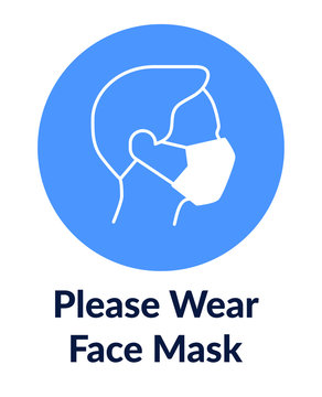 Simple poster poster with man in mask says Please wear face mask.