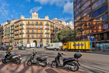 Urban view of Barcelona, Spain.