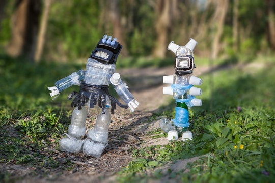 Monsters made of plastic waste in the forest
