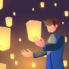 Poster Superheroes lantern festival and muslim man character concept with night background. ramadan kareem