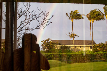 The reflection of a rainbow with palm trees and a silhouette of a person taking a picture.