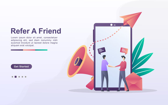 Landing page template of refer a friend in gradient effect style