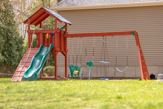 swingset /playground in backyard