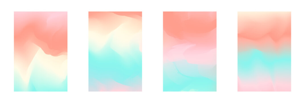 Abstract tender pastel coral and teal blue vibrant gradient colors backgrounds for fashion flyer, brochure design. Set of soft, delicate wallpaper for mobile apps, ui design, banner, poster