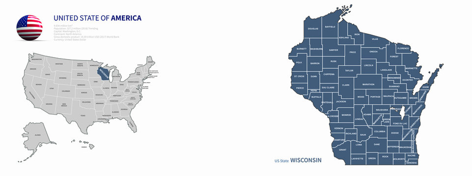wisconsin map. wisconsin vector map of U.S. states.
