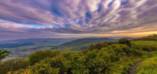 Foto auf AluDibond Lavendel Scenic View Of Landscape Against Cloudy Sky