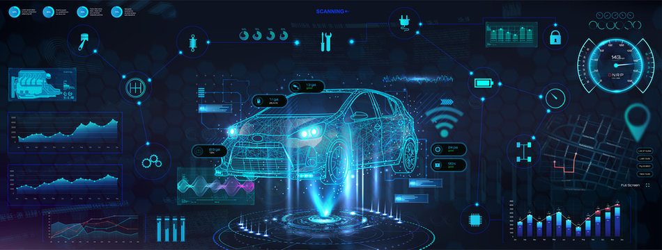Hud diagnostic auto with hologram car. Futuristic User Interface with auto in polygonal style, wireframe in line. Auto service in HUD style. Information and infographic with ui. Vector illustration