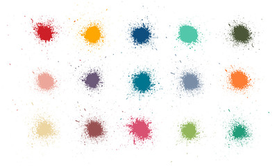 Fotobehang - Colorful paint stains set, color splatter. High quality manually tracked.  Inked splatter dirt stain spatter spray splashes. Drops blots isolated vector set. Vector collection