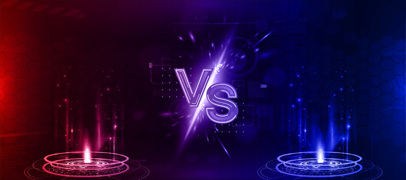 Futuristic Versus banner - image blank. Red and blue glow rays night scene with sparks. Hologram light effect. Competition vs match game, martial battle vs sport. Vector illustration versus