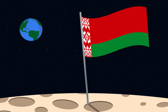 View of planet Earth from the surface of the Moon with the Belarus flag and holes on the ground