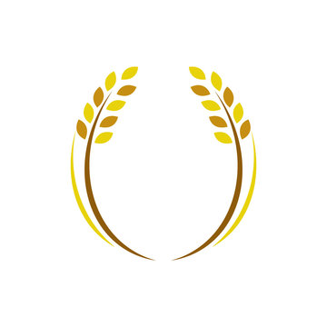 Wheat Ears Icons and Logo Circular frame. For Identity Style of Natural Product Company and Farm Company. Organic wheat, bread agriculture and natural eat. Contour lines. Flat design.