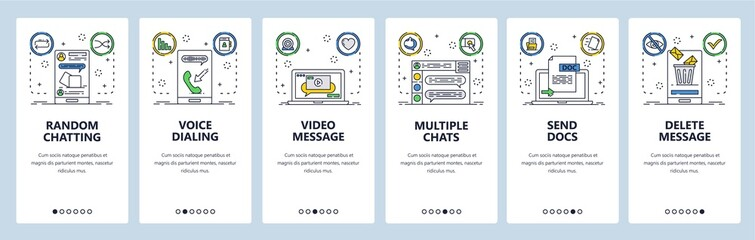 Wall Mural - Chat website and mobile app onboarding screens vector template