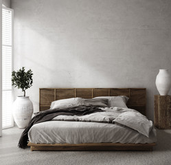 Fototapete - Luxury bedroom interior with minimal decor, loft style, 3d render