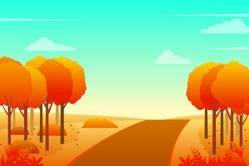 Nature landscape in autumn season vector illustration with orange leaves and bright sky. Autumn landscape background