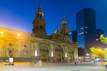 Poster Amérique du Sud Evening view of Plaza de Armas. Santiago, Chile