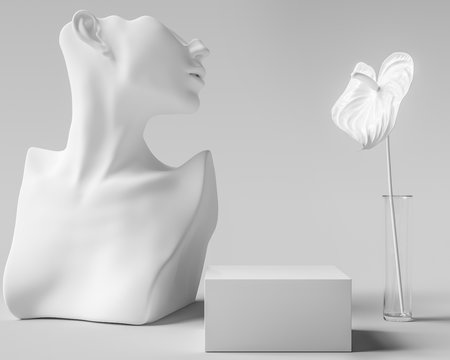 Cosmetic product display white sculpture, woman accessories art jewelry background, mannequin bust and flower with podium, 3d rendering