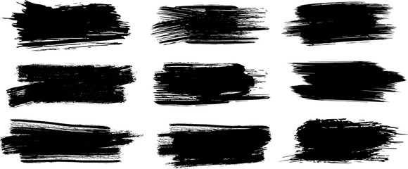 Brush Strokes. Set of four black grunge design elements. Paintbrush Boxes for text. Grunge design elements. Dirty texture banners. Vector illustration.