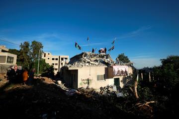 Israel forces demolish the house of Palestinian assailant Qassam Al-Barghouti in the village of Kobar near Ramallah