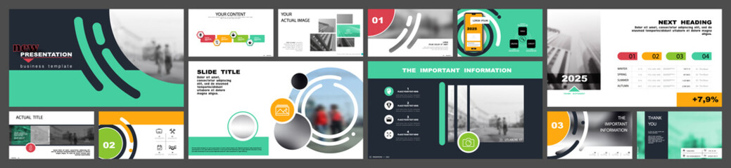 Business presentation template. Multicolored circles, presentation elements on a white background. Vector infographic.Businessman, city Use in postcards and flyer, marketing, advertising annual report