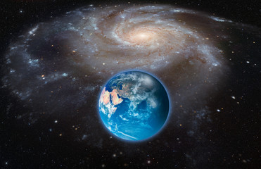 Wall Mural - Our galaxy is milky way ( barred spiral galaxy NGC 1073, Milky Way galaxy has been amended as) with earth