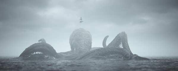 Giant Kraken with Girl Beast Master Rising out of the Sea 3d illustration 3d render miniature Lord of the Print