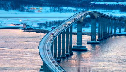 Arctic city of Tromso with bridge - Tromso cantilever road bridge in city