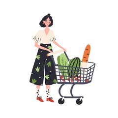Cartoon female with shopping cart full of products vector flat illustration. Colorful customer woman with trolley isolated on white. Shopper girl carrying eco food, bread, vegetable and fruit