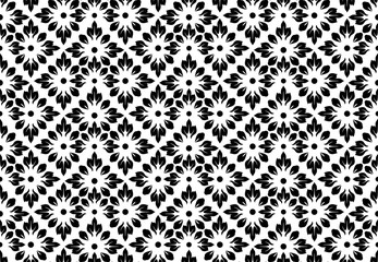 Fotorolgordijn Geometrisch Flower geometric pattern. Seamless vector background. White and black ornament. Ornament for fabric, wallpaper, packaging. Decorative print