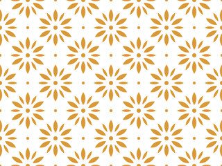 Fotorolgordijn Geometrisch Flower geometric pattern. Seamless vector background. White and gold ornament. Ornament for fabric, wallpaper, packaging. Decorative print