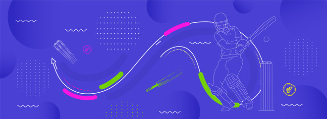 illustration of Player bat, ball and helmet on cricket sports
