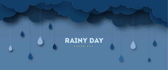 Illustration of Cloud and rain on dark background. heavy rain, rainy season, paper cut and craft style. vector, illustration Fotobehang