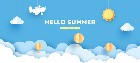 Papiers peints Bleu Summer Paper Applique of Symbols, Sign and Objects with Text illustrate the Greeting of the Summertime. Sun Background. Abstract Art Template for Banner, Card, Poster. Design Vector Illustrations