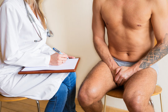 Man visiting doctor with delicate problem
