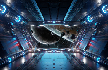 Wall Mural - Blue and red futuristic spaceship interior with window view on planets 3d rendering