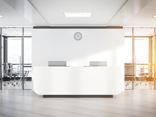 Blank white reception desk in concrete office with large windows Mockup 3D rendering Fototapete