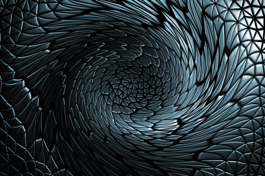 3D pattern geometric shaped swirling leather background, light and dark gradients waving circular on black.