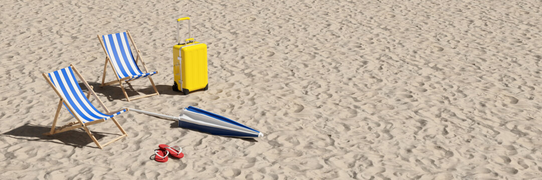 Two deck chairs and suitcases on the beach as a vacation concept