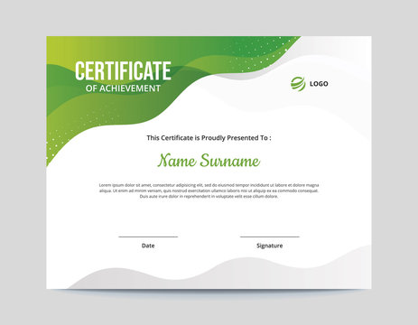 Abstract Green and Grey Waves Certificate Letter Size 11 x 8.5 with .125 Bleed