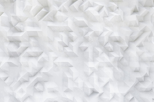 3D white concrete, plaster pattern, asymmetric and geometric abstract structures on textured Background.