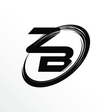 Initial Letter ZB Brush Effect Logo Design