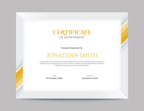 Simple Gold Geometric Shapes Border Certificate Design Letter Size 11 x 8.5 with .125 Bleed