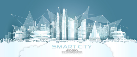 Technology wireless network communication smart city with architecture south Korea. Fotomurales