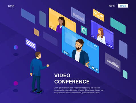 The concept of modern video conferencing and remote work. The boss manages the company through video communication. Online meeting. Webinar. Video communication service. Great as a landing page Vector