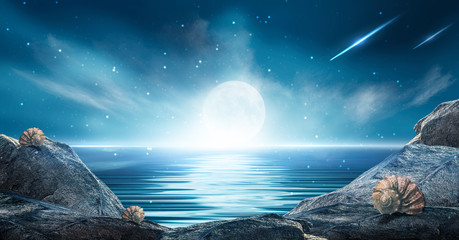 Fotomurales - Night futuristic landscape. Reflection of the moon on sea water. Large stones, rocks on the shore, shells. Blue abstraction, meteorite rays, neon blue light. Night landscape.