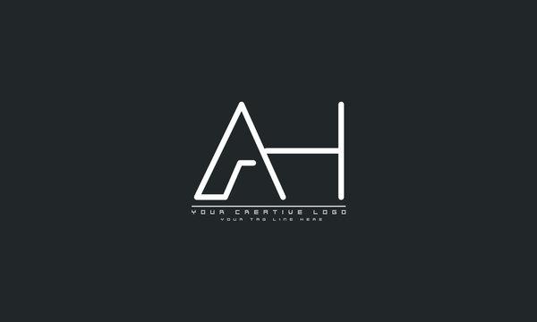 AH HA abstract vector logo monogram template