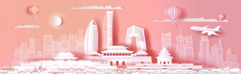 Fototapete - Travel Asia landmarks cityscape of beijing on pink background.