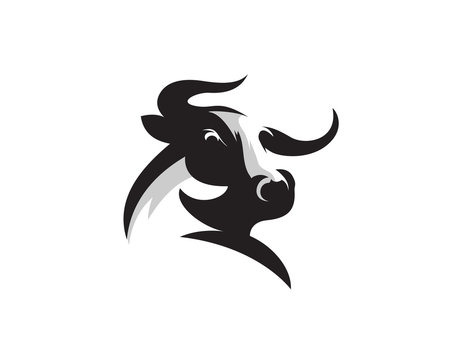 Elegance drawing art buffalo cow ox bull head logo design inspiration