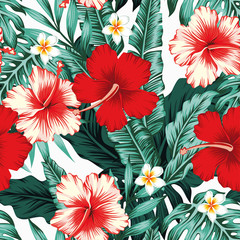 Wall Mural - Tropical leaves flowers white background seamless