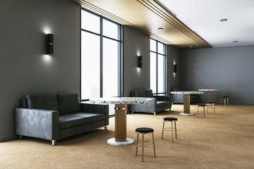 Contemporary waiting room with  sofa and table.