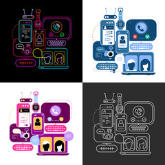 Four options of Online Chatting vector illustration. Computer monitors and smartphone screens with chat messages, video conference and video calling.